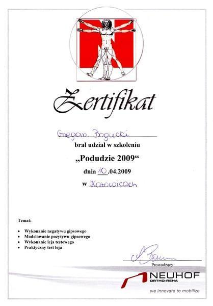 Certyfikat za udział w szkoleniu