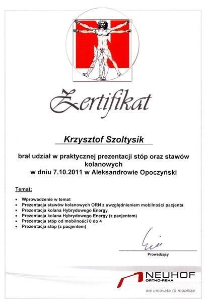 Certyfikat prezentacja stóp