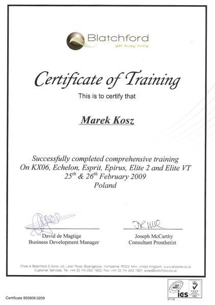 Certyfikat trening