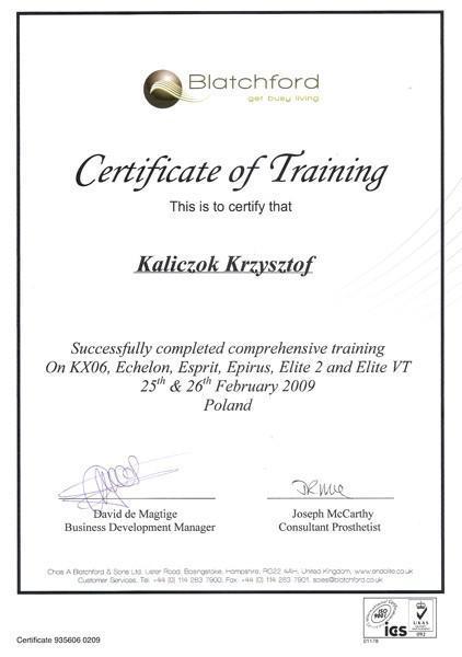 Certyfikat trening Kaliczok