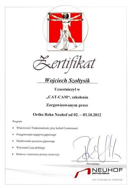 Certyfikat szkolenie z gipsowania