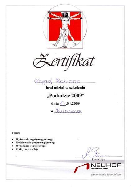 Certyfikat gipsowanie
