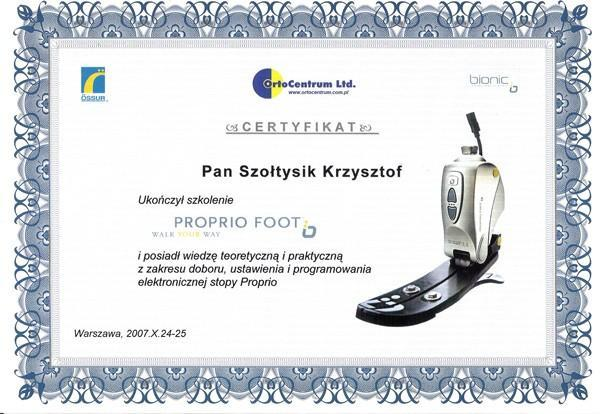Certyfikat propio foot