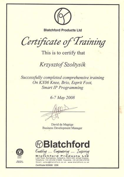 Certyfikat trening międzynarodowy