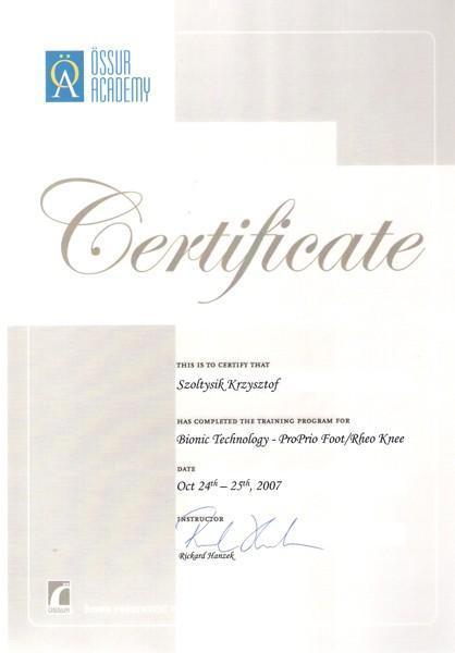 Certyfikat technologia bionic