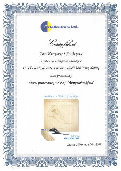 Certyfikat szkolenie nad opieką pacjęta